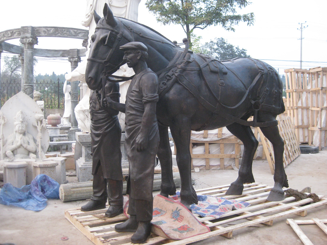 BRONZE WORKERS WITH HORSE